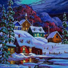 Arts And Crafts Hobbies Key: 2231047159 Winter Landscape, Landscape Art, Christmas Paintings On Canvas, Winter Painting, Winter Scenery, House Drawing, Canadian Art, Country Art, Motel 6