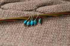 Turquoise and Sterling Silver Stitch Markers for by Noduri on Etsy, $20.00