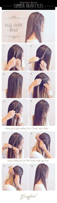 Best Hair Braiding Tutorials - Easy Under Braid - Easy Step by Step Tutorials for Braids - How To Braid Fishtail, French Braids, Flower Crown, Side Braids, Cornrows, Updos - Cool Braided Hairstyles for Girls, Teens and Women - School, Day and Evening, Boho, Casual and Formal Looks http://diyprojectsforteens.stfi.re/hair-braiding-tutorials