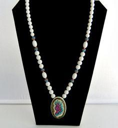 Vintage Japan White Bead Ornate Pendant Necklace by ediesbest, $10.95