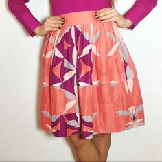 """Anthropologie Tiered Floral Skirt Anthropologie Tiered Floral Skirt. -Side zip. -Four button closure on the side.  -Fully lined. -100% Cotton. -By Leifsdottir. -Length: 21"""" -Like new.  NO Trades. Please make all offers through offer button. Anthropologie Skirts A-Line or Full"""