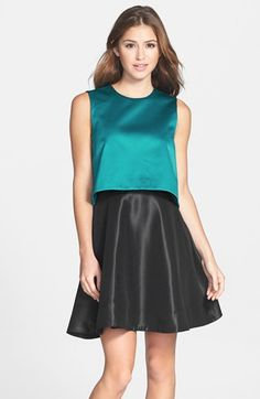 ERIN erin fetherston 'Tippy' Popover Satin Fit & Flare Dress available at #Nordstrom