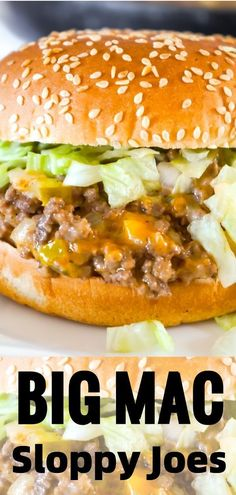 Big Mac Sloppy Joes are delicious ground beef sandwiches loaded with onions, pickles, cheddar cheese and shredded lettuce.