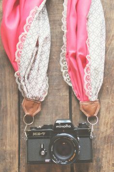 """Handmade, one of a kind, scarf camera strap in """"Grey, Salmon & Lace"""" with a cotton scarf and faux leather. Suitable for small to medium DSLR camera bodies. Photography Accessories, Photography Camera, Photography Tips, Accessoires Photo, Kodak Moment, Camera Straps, Camera Hacks, Camera Accessories, Diy Fashion"""