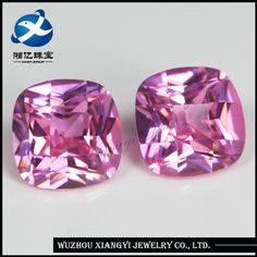 wuzhou xiangyi 10mm square checkerboard natural pink cz zircon gemstone jewelry names