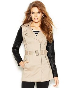 GUESS Faux-Leather-Sleeve Belted Trench Coat