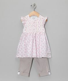 Take a look at this Pink Angel-Sleeve Tunic & Pants - Toddler & Girls	 by Calvin Klein on #zulily today!