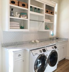Weekend laundry room inspiration from Mudroom Laundry Room, Laundry Decor, Laundry Room Remodel, Laundry Room Organization, Laundry Room Design, Laundry In Bathroom, Laundry Room Shelving, Laundry Room Countertop, Hallway Storage