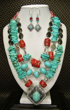 RED CORAL SPENDOR - SOUTHWEST WESTERN COWGIRL Necklace Set / Howlite Turquoise and Coral Statement Necklace / Southwest Triple Strand - See more at: http://www.buckaroobay.com/catalog.php?item=7898#sthash.gFjEn2Bw.dpuf