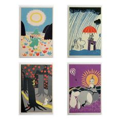 The Book about Moomin wooden card 4-pack