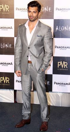 Karan Singh Grover at first look launch of 'Alone'. #Bollywood #Fashion #Style #Handsome