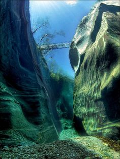 River Verzasca, Switzerland. The water is so pure, that is seen from the bottom surface.