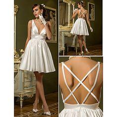 A-line V-neck Short/Mini Stretch Satin Wedding Dress (710788) - USD $ 79.99