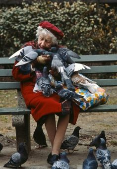 pigeon lady in Central Park. // By Rob Lang I have lots of memories of feeding the pigeons in Central Park as a child. Beautiful Birds, Beautiful People, Photographie Portrait Inspiration, Young At Heart, People Of The World, Central Park, Belle Photo, Eagles, Cute Animals