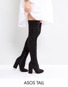 1ef979141f7 ASOS KATCHER TALL Heeled Over The Knee Boots – Black Knee High Boots