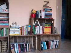 old crates - - > bookshelfs