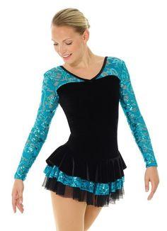 Girl 10-12 run small Mondor Ice Figure Skating Dress Black Velvet  & Peacock NWT #Mondor