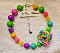 Stunning Variegated Rose Bubblegum Chunky Toddler/Girl Necklace w/Hand Made Rose #DeCicco