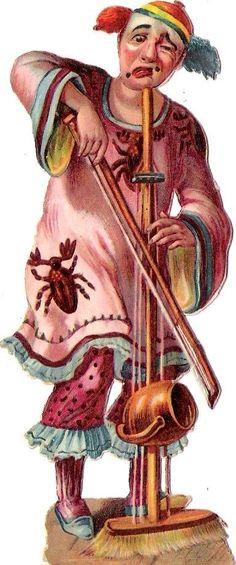 Oblaten Glanzbild scrap die cut chromo Zirkus circus Clown  Geige