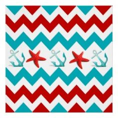 Nautical Beach Red Teal Chevron Anchors Starfish Poster | Unique Posters