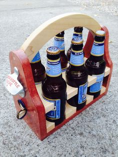 six pack beer holder with bottle opener and magnetic catch