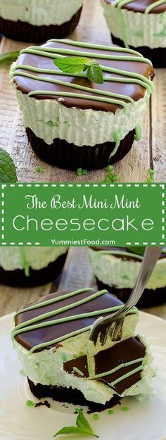 The Best Mini Mint Cheesecake – so easy to make, creamy and cute! Absolutely delicious, The Best Mini Mint Cheesecake with an Oreo crust and only a few ingredients! Mint Cheesecake, Mini Cheesecake Recipes, Cheesecake Crust, Butter Chocolate Chip Cookies, Melting Chocolate Chips, Delicious Desserts, Dessert Recipes, Dinner Recipes, Gastronomia
