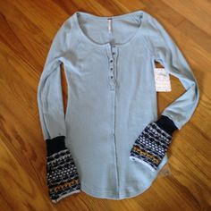 Brand New🌟Free People Thermalcuff XS Top Brand New Free People Thermalcuff XS in lake blue Free People Tops