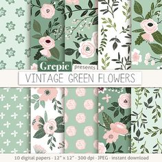 "Green digital paper: ""VINTAGE GREEN FLOWERS"" floral flowers patterns floral background flower digital paper pink green backgrounds by Grepic. Printable Scrapbook Paper, Papel Scrapbook, Digital Scrapbook Paper, Printable Paper, Digital Papers, Scrapbook Pages, Ideas Scrapbooking, Scrapbook Patterns, Digital Paper Free"