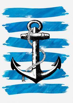 Anchor away Art Print by Neonski - X-Small Anchor Wallpaper, Nautical Wallpaper, Cute Wallpapers, Wallpaper Backgrounds, Iphone Wallpaper, Anchor Art, Iron On Fabric, Download Digital, Anchor Tattoos