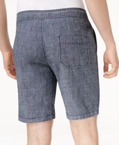 American Rag Men's Classic Fit Stretch Chambray Drawstring Jogger Shorts, Only at Macy's - Blue 2XL