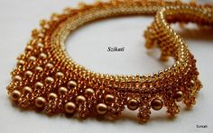 Beaded gold honey & brown seed bead necklace with pearl by Szikati