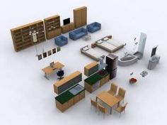 Paper model template for dollhouse furniture