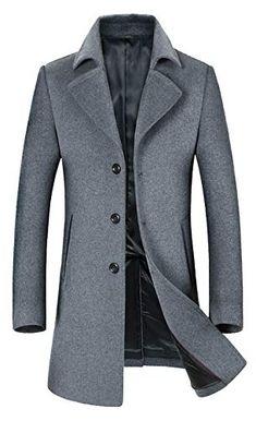 b1222370285 Sale!  95.00 Only   Original ELETOP Men s Wool Coats Single Breasted Trench  Coat Windbreaker Jacket 1871 Gray XL