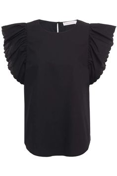 Black Ruffled cotton-poplin top | Sale up to 70% off | THE OUTNET | SEE BY CHLOÉ | THE OUTNET Dress Outfits, Fashion Dresses, Chloe Clothing, Beach Wear Dresses, See By Chloe, Short Tops, Black Ruffle, Top Sales, Jacket Dress