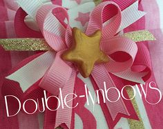 Pink Polka Dot Lolly Mini Boutique Hair Bow by bibbidibobbidi