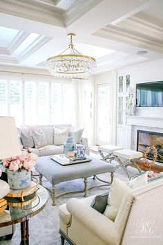 elegant kid friendly family room -summer home tour