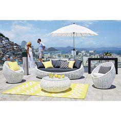 Sofá de jardín de 3 plazas de resina trenzada blanca