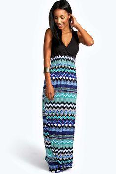 1748d0d790b7fa Boohoo Nikki Contrast Top Aztec Print Maxi Dress Maxi Met Lange Mouwen