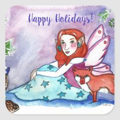 Fairy and a fox happy holidays square sticker Head Start, Party Hats, Funny Cute, Happy Holidays, Fox, Kids Shop, Sticker, Fairy, Disney Characters