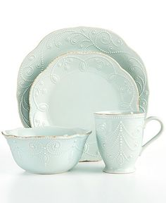 lenox dinnerware french perle ice blue 4 piece place setting casual dining kitchen