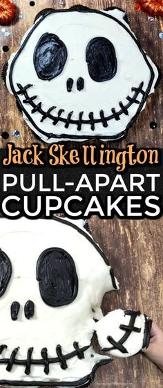 These Jack Skellington pull apart cupcakes from Soccer Mom Blog are so cute! They are ridiculously easy to make and taste delicious! They are the perfect dessert to serve at your Halloween or Nightmare Before Christmas party this year! Try making these sweet treats this Fall season! #fall #halloween #jackskellington #nightmarebeforechristmas #cupcakes #recipes #desserts Disney Halloween, Costume Halloween, Halloween Sweets, Halloween Baking, Fete Halloween, Halloween Cakes, Halloween Kids, Happy Halloween, Halloween Goodies