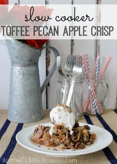easy slow cooker toffee pecan apple crisp.  To make it vegan use Earth Balance instead of butter, which is what I will do when I make it.  Looks yummy!!!
