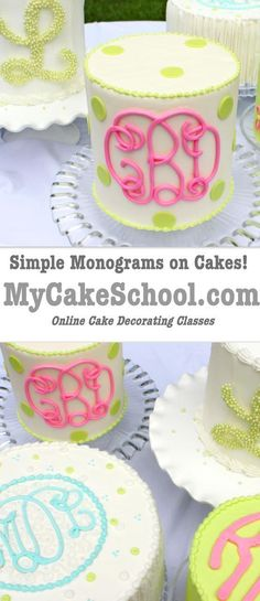 Learn to Create Beautiful Monograms on Cakes with Chocolate, Fondant, and Buttercream, and more! MyCakeSchool.com Cake Decorating Tutorial {Member Video} #preppy #monogram #caketutorials #mycakeschool #cakedecoratingtutorials