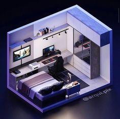 Gamer Bedroom, Bedroom Setup, Room Ideas Bedroom, Bedroom Decor, Small Game Rooms, Gaming Room Setup, Gaming Rooms, Game Room Design, Game Room Decor