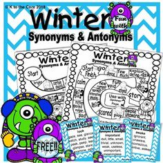Digital download FREEBIE, 11 pgs, available at https://www.teacherspayteachers.com/Product/Winter-Fun-with-Synonyms-and-Antonyms-3581281 If you like this, you'll the full version coming soon. Your students will enjoy building their vocabulary with this fun synonyms and antonyms game. These pages are ideal for classroom Language Arts centers,  word work activities, homework, and home school activities.