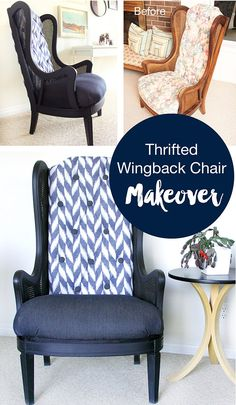 thrifted cane wingback chair makeover