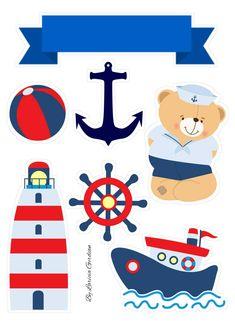 Marinheiro 1st Birthday Themes, 2nd Birthday, Nautical Clipart, Sailor Baby, Sea Theme, Baby Boy Shower, Doodles, Teddy Bear, Clip Art