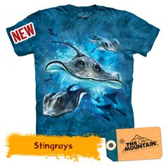 stingrays men's t-shirt stonewashed multicolored graphic tee preshrunk cotton we are a green company we combine shipping email us with any questions thank you for visiting Blue Tie Dye, Stingrays, Cool Kids, Screen Printing, Graphic Tees, Just For You, Youth, Baby Boys, Toddler Boys