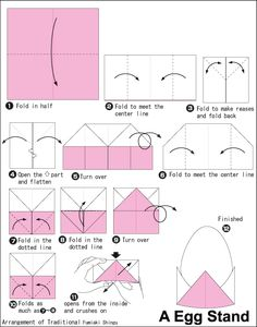 diagramme de stand d'oeuf – Origami Community : Explore the best and the most trending origami Ideas and easy origami Tutorial Origami Design, Diy Origami, Origami Egg, Origami Yoda, Origami And Kirigami, Origami Ball, Origami Fish, Origami Dragon, Paper Crafts Origami