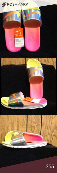Nike Slides NWT Nike Olefey Solarsoft Slides. Chic and stylish with neon pink and neon yellow combining for an ombré effect in the middle of the solarsoft footbed. Metallic silver with pink and yellow neon Nike Stripe in center. Nike Shoes Sandals